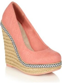 Coral Canvas High Heeled Weslia Wedge Sandals - predominant colour: coral; occasions: casual, work; material: fabric; heel height: high; heel: wedge; toe: round toe; style: courts; trends: fluorescent; finish: plain; pattern: plain
