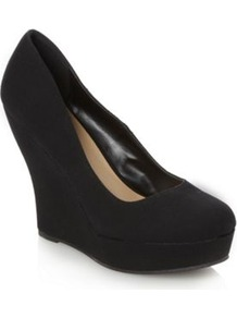Black Gorgeia High Wedge Court Shoes - predominant colour: black; occasions: casual, evening, work, occasion; material: faux leather; heel height: high; heel: wedge; toe: round toe; style: courts; finish: plain; pattern: plain