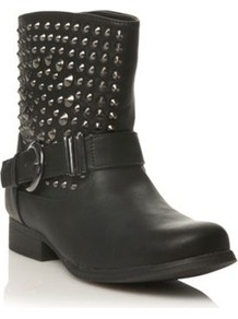 Black Studded Leatherette Dousa Ankle Boots - predominant colour: black; occasions: casual; material: faux leather; heel height: flat; embellishment: studs; heel: block; toe: round toe; boot length: ankle boot; style: biker boot; finish: plain; pattern: plain