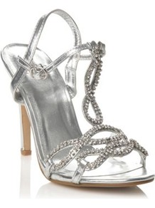Silver Metallic Diamante High Heeled Sandals - predominant colour: silver; occasions: evening, occasion, holiday; material: faux leather; heel height: high; embellishment: crystals; heel: stiletto; toe: open toe/peeptoe; style: strappy; finish: metallic; pattern: plain