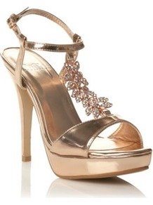 Rose High Heel Diamante Leaf Trimmed Court Shoes - predominant colour: gold; occasions: evening; material: faux leather; embellishment: crystals; ankle detail: ankle strap; heel: platform; toe: open toe/peeptoe; style: standard; finish: metallic; pattern: plain; heel height: very high