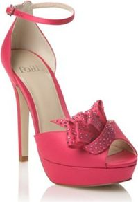 Pink Satin Peep Toe High Heeled Sandal - predominant colour: hot pink; occasions: occasion; material: satin; embellishment: crystals; ankle detail: ankle strap; heel: platform; toe: open toe/peeptoe; style: strappy; finish: plain; pattern: plain; heel height: very high