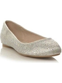 Ivory Satin Stone Studded Pumps - predominant colour: ivory; occasions: casual, evening, work, occasion; material: satin; heel height: flat; embellishment: crystals; toe: round toe; style: ballerinas / pumps; trends: metallics; finish: plain; pattern: diamonds, plain