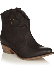 Black Leather Mid Heel Ankle Boots - predominant colour: black; occasions: casual; material: faux leather; heel height: mid; embellishment: embroidered, studs; heel: block; toe: pointed toe; boot length: ankle boot; style: biker boot; finish: plain; pattern: plain