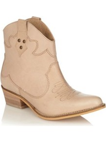 Beige Leather Mid Heel Ankle Boots - predominant colour: stone; occasions: casual; material: faux leather; heel height: mid; embellishment: embroidered, studs; heel: block; toe: pointed toe; boot length: ankle boot; style: cowboy; finish: plain; pattern: plain