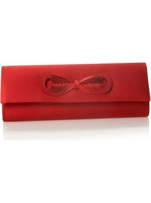 Designer Red Woven Bow Clutch Bag - predominant colour: true red; occasions: evening, occasion; type of pattern: standard; style: clutch; length: hand carry; size: small; material: satin; pattern: plain; finish: plain; embellishment: bow