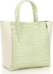 Light Green Mock Croc Shopper Bag - secondary colour: ivory; predominant colour: pistachio; style: tote; length: handle; size: standard; material: faux leather; pattern: animal print; finish: plain