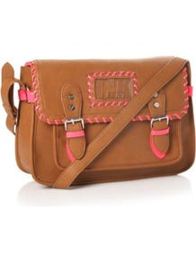 Designer Tan Whipstitch Satchel Bag - secondary colour: pink; predominant colour: tan; occasions: casual; style: satchel; length: across body/long; size: standard; material: faux leather; pattern: plain; finish: plain