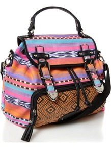 Designer Pink Aztec Backpack - occasions: casual; predominant colour: multicoloured; style: rucksack; length: rucksack; size: standard; material: fabric; finish: plain; pattern: patterned/print