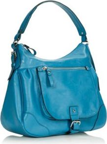 Designer Blue Buckle Flap Shoulder Bag - predominant colour: diva blue; occasions: casual; style: shoulder; length: shoulder (tucks under arm); size: standard; material: faux leather; pattern: plain; finish: plain