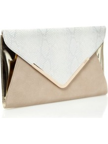 Natural Oversize Envelope Clutch Bag - secondary colour: ivory; predominant colour: stone; occasions: evening; style: clutch; length: hand carry; size: standard; material: faux leather; pattern: animal print; finish: plain