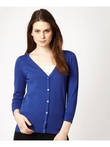Blue V Neckline Cardigan - neckline: low v-neck; hip detail: fitted at hip; bust detail: buttons at bust (in middle at breastbone)/zip detail at bust; predominant colour: royal blue; occasions: casual, work; length: standard; style: standard; fibres: nylon - mix; fit: standard fit; waist detail: fitted waist; shoulder detail: added shoulder detail; sleeve length: 3/4 length; sleeve style: standard; texture group: knits/crochet; pattern type: knitted - fine stitch