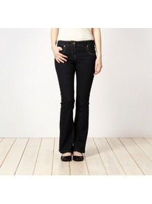 Dark Blue Bootcut Jeans - style: bootcut; length: standard; pattern: plain; pocket detail: traditional 5 pocket; waist: mid/regular rise; predominant colour: navy; occasions: casual; fibres: cotton - stretch; jeans detail: dark wash; texture group: denim; pattern type: fabric