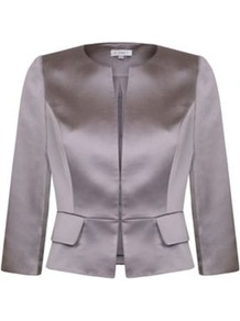 Satin Peplum Jacket - pattern: plain; style: single breasted blazer; collar: round collar/collarless; predominant colour: lilac; occasions: evening, occasion; length: standard; fit: tailored/fitted; fibres: polyester/polyamide - stretch; waist detail: peplum detail at waist; sleeve length: 3/4 length; sleeve style: standard; texture group: structured shiny - satin/tafetta/silk etc.; collar break: high; pattern type: fabric