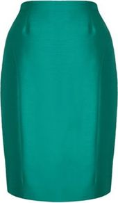 Petite Green Silk Wool Pencil Skirt - pattern: plain; style: pencil; fit: tailored/fitted; waist: high rise; predominant colour: emerald green; occasions: evening, work, occasion; length: just above the knee; fibres: wool - 100%; texture group: structured shiny - satin/tafetta/silk etc.; pattern type: fabric