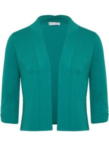 Petite Green Gather Detail Cardigan - pattern: plain; length: cropped; neckline: collarless open; predominant colour: emerald green; occasions: casual; style: standard; fibres: cotton - mix; fit: standard fit; sleeve length: 3/4 length; sleeve style: standard; texture group: knits/crochet; pattern type: knitted - fine stitch