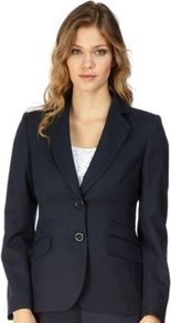 Navy Jacquard Jacket - pattern: plain; style: single breasted blazer; collar: standard lapel/rever collar; predominant colour: navy; occasions: casual, evening, work; length: standard; fit: tailored/fitted; fibres: polyester/polyamide - mix; sleeve length: long sleeve; sleeve style: standard; collar break: low/open; pattern type: fabric; texture group: brocade/jacquard
