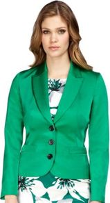 Emerald Green Jacket - pattern: plain; style: single breasted blazer; collar: standard lapel/rever collar; predominant colour: emerald green; occasions: evening, work, occasion; length: standard; fit: tailored/fitted; fibres: polyester/polyamide - mix; waist detail: fitted waist; sleeve length: long sleeve; sleeve style: standard; texture group: structured shiny - satin/tafetta/silk etc.; collar break: medium; pattern type: fabric
