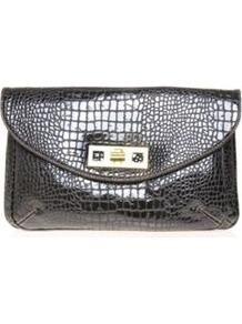 Mod Squad Clutch - predominant colour: black; occasions: evening; style: clutch; length: hand carry; size: standard; material: faux leather; pattern: animal print; finish: patent