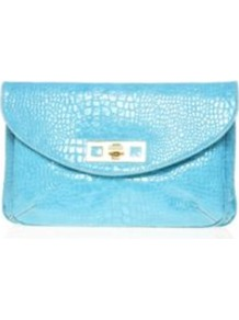 Mod Squad Clutch - predominant colour: turquoise; occasions: evening; style: clutch; length: hand carry; size: standard; material: faux leather; pattern: animal print; finish: patent