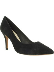 Black Suede Mid High Pointed Court Shoes - predominant colour: black; occasions: work; material: suede; heel height: mid; heel: stiletto; toe: pointed toe; style: courts; finish: plain; pattern: plain