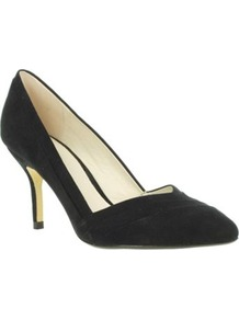 Black Pointed Toe Court Shoes With V Throat - predominant colour: black; occasions: evening; material: faux leather; heel height: high; heel: stiletto; toe: pointed toe; style: courts; finish: plain; pattern: plain