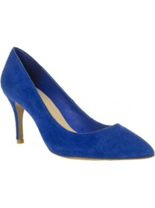 Blue Suede Mid High Pointed Court Shoes - predominant colour: royal blue; occasions: occasion; material: suede; heel height: mid; heel: stiletto; toe: pointed toe; style: courts; finish: plain; pattern: plain