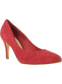 Red Suede Mid High Pointed Court Shoes - predominant colour: true red; occasions: evening; material: suede; heel height: mid; heel: stiletto; toe: pointed toe; style: courts; finish: plain; pattern: plain