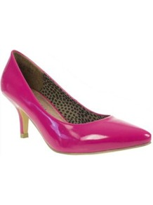 Patent Low Heeled Pointed Court Shoes - predominant colour: hot pink; occasions: evening, work, occasion; material: faux leather; heel height: mid; heel: standard; toe: pointed toe; style: courts; finish: patent; pattern: plain