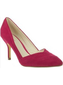Pink Pointed Toe Court Shoes With V Throat - predominant colour: hot pink; occasions: evening, work, occasion; material: suede; heel height: high; heel: stiletto; toe: pointed toe; style: courts; finish: plain; pattern: plain