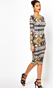 Midi Dress In Jewel Print - length: below the knee; neckline: round neck; fit: tight; style: bodycon; secondary colour: gold; occasions: casual, evening, occasion; fibres: polyester/polyamide - stretch; predominant colour: multicoloured; sleeve length: long sleeve; sleeve style: standard; trends: statement prints; pattern type: fabric; pattern size: big & busy; pattern: patterned/print; texture group: jersey - stretchy/drapey