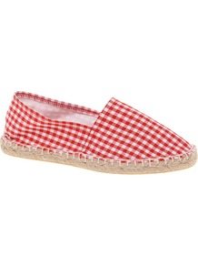 Jessie Espadrilles - predominant colour: true red; occasions: casual, holiday; material: fabric; heel height: flat; toe: round toe; style: ballerinas / pumps; finish: plain; pattern: checked/gingham