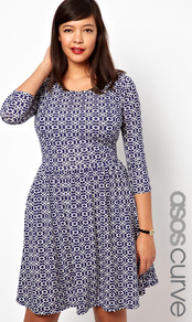Curve Exclusive Skater Dress In Geo Print - length: mid thigh; neckline: round neck; secondary colour: white; predominant colour: navy; occasions: casual, evening, holiday; fit: fitted at waist & bust; style: fit & flare; fibres: viscose/rayon - stretch; hip detail: soft pleats at hip/draping at hip/flared at hip; sleeve length: long sleeve; sleeve style: standard; trends: modern geometrics; pattern type: fabric; pattern size: small & busy; pattern: patterned/print; texture group: jersey - stretchy/drapey
