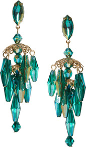 Mini Lampshade Earrings - predominant colour: turquoise; occasions: evening, occasion, holiday; style: chandelier; length: long; size: large/oversized; material: chain/metal; fastening: pierced; finish: plain; embellishment: beading, crystals