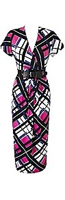 Petite Print Dress With Belt Length 38 Inches - style: faux wrap/wrap; length: below the knee; neckline: v-neck; waist detail: belted waist/tie at waist/drawstring; occasions: evening, work, occasion; fit: body skimming; fibres: polyester/polyamide - stretch; predominant colour: multicoloured; sleeve length: short sleeve; sleeve style: standard; trends: statement prints, modern geometrics; pattern type: fabric; pattern size: standard; pattern: patterned/print; texture group: jersey - stretchy/drapey
