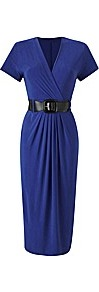 Plain Dress With Belt Length 45 Inches - style: faux wrap/wrap; neckline: v-neck; fit: fitted at waist; pattern: plain; waist detail: belted waist/tie at waist/drawstring; predominant colour: royal blue; occasions: casual, evening; length: on the knee; fibres: polyester/polyamide - stretch; sleeve length: short sleeve; sleeve style: standard; texture group: jersey - stretchy/drapey