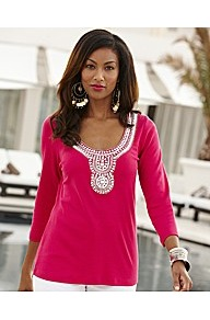 Joanna Hope Embellished Jersey Top - pattern: plain; bust detail: added detail/embellishment at bust; predominant colour: hot pink; occasions: casual, evening, holiday; length: standard; style: top; neckline: scoop; fibres: cotton - 100%; fit: body skimming; sleeve length: 3/4 length; sleeve style: standard; pattern type: fabric; pattern size: small & busy; texture group: jersey - stretchy/drapey; embellishment: sequins