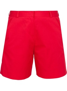 Sundry City Shorts - pattern: plain; style: shorts; waist: high rise; length: mid thigh shorts; predominant colour: true red; occasions: casual; fibres: cotton - stretch; texture group: cotton feel fabrics; fit: straight leg; pattern type: fabric