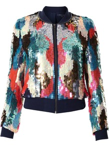 Techno Rain Zip Through Jacket - collar: standard biker; style: bomber; occasions: casual, evening; length: standard; fit: straight cut (boxy); fibres: polyester/polyamide - 100%; predominant colour: multicoloured; sleeve length: long sleeve; sleeve style: standard; texture group: crepes; trends: sporty redux; collar break: high/illusion of break when open; pattern type: fabric; pattern size: big & busy; pattern: patterned/print; embellishment: sequins