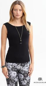 Br Monogram - neckline: round neck; pattern: plain; sleeve style: sleeveless; waist detail: fitted waist; back detail: cowl/draping/scoop at back; hip detail: fitted at hip; predominant colour: black; occasions: evening, work, occasion, holiday; length: standard; style: top; fibres: polyester/polyamide - mix; fit: tailored/fitted; sleeve length: sleeveless; pattern type: fabric; texture group: jersey - stretchy/drapey