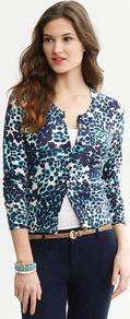 Lynda Animal Print Cardigan - neckline: round neck; secondary colour: navy; predominant colour: teal; occasions: casual, work; length: standard; style: standard; fibres: cotton - 100%; fit: slim fit; sleeve length: 3/4 length; sleeve style: standard; texture group: cotton feel fabrics; pattern type: fabric; pattern size: small &amp; busy; pattern: animal print
