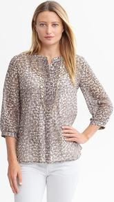 Tessa Printed Blouse - neckline: v-neck; style: blouse; predominant colour: mid grey; occasions: casual, evening, work, holiday; length: standard; fibres: polyester/polyamide - 100%; fit: body skimming; sleeve length: 3/4 length; sleeve style: standard; texture group: sheer fabrics/chiffon/organza etc.; pattern type: fabric; pattern size: small &amp; busy; pattern: animal print