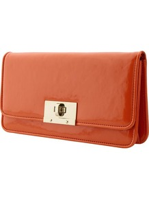 Patent Clutch - predominant colour: bright orange; occasions: evening, occasion; type of pattern: standard; style: clutch; length: hand carry; size: small; material: faux leather; pattern: plain; finish: patent