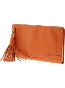Evan Clutch Wallet - predominant colour: bright orange; occasions: casual, evening, occasion; type of pattern: standard; style: clutch; length: hand carry; size: small; material: leather; embellishment: tassels; pattern: plain; finish: plain