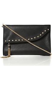 Etassle Stud And Tassel Fold Over Clutch Bag - predominant colour: black; occasions: evening, occasion; type of pattern: standard; style: clutch; length: hand carry; size: small; material: faux leather; embellishment: studs; pattern: plain; finish: plain