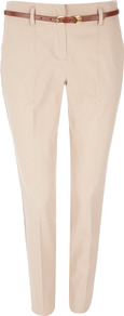 Petite Stone Belted Trouser - length: standard; pattern: plain; style: peg leg; waist detail: belted waist/tie at waist/drawstring; waist: mid/regular rise; predominant colour: stone; occasions: casual, work, occasion; fibres: cotton - stretch; hip detail: front pleats at hip level; texture group: cotton feel fabrics; trends: glamorous day shifts; fit: tapered; pattern type: fabric