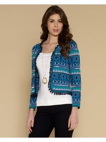 Harriet Pom Pom Jacket - pattern: horizontal stripes; collar: round collar/collarless; style: boxy; predominant colour: diva blue; secondary colour: turquoise; occasions: casual, evening, work; length: standard; fit: straight cut (boxy); fibres: cotton - 100%; sleeve length: long sleeve; sleeve style: standard; collar break: low/open; pattern type: fabric; pattern size: small & busy; texture group: woven light midweight; embellishment: embroidered