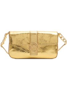 Fulton Clutch - predominant colour: gold; occasions: evening, occasion; type of pattern: light; style: shoulder; length: shoulder (tucks under arm); size: small; material: leather; pattern: animal print; trends: metallics; finish: metallic; embellishment: chain/metal