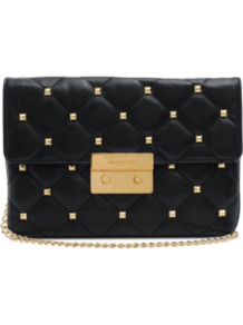Sloan Quilt Studded Clutch - secondary colour: gold; predominant colour: black; occasions: evening, work, occasion; type of pattern: small; style: clutch; length: shoulder (tucks under arm); size: small; material: leather; embellishment: studs; pattern: plain; finish: plain