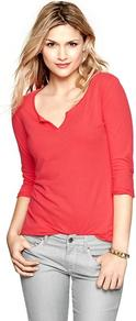 Luxe Jersey Split V T - neckline: low v-neck; pattern: plain; style: t-shirt; predominant colour: coral; occasions: casual; length: standard; fibres: cotton - mix; fit: body skimming; sleeve length: 3/4 length; sleeve style: standard; pattern type: fabric; texture group: jersey - stretchy/drapey